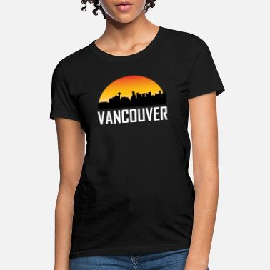 Vancouver Sunset Skyline Silhouette of Vancouver BC - Women's T-Shirt