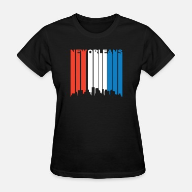 New Orleans Saxophone Red White And Blue New Orleans Louisiana Skyline - Women's T-Shirt