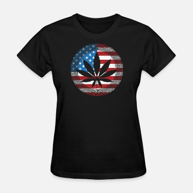 Dope United States Pot Leaf American Flag - Women's T-Shirt