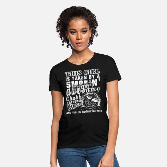 Husband T-Shirts - This Girl Loves Her Tattooed Biker T Shirt - Women's T-Shirt black