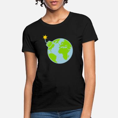 Round lighted earth planet world round sphere circle tex - Women's T-Shirt