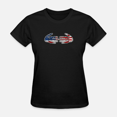 Boobs American Flag Patriotic Red White Blue Skeleton Hands design Great for Halloween design - Women's T-Shirt