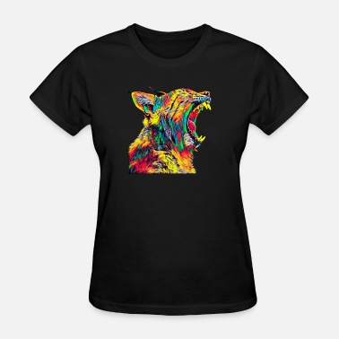 Profile Graphics Bobcat Lynx Head Profile Roaring Colored Graphic Design - Women's T-Shirt