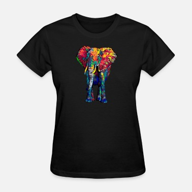 Africa Asia Colorful Elephant Symbolic Jungle Animal Antient Asia Africa India - Women's T-Shirt