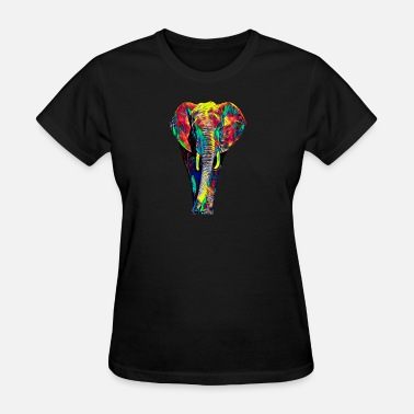 Africa Asia Elephant Symbolic Jungle Animal Antient Asia Africa India Colored Design - Women's T-Shirt