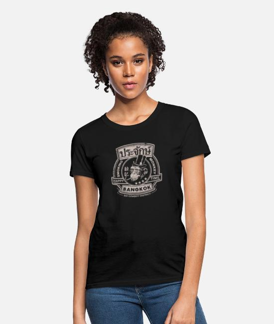 Cannabis T-Shirts - Smoking monkey - Happy time in Bangkok - Women's T-Shirt black