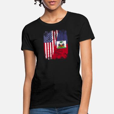 Haitian Proud HAITIAN ROOTS | American Flag | HAITI - Women's T-Shirt