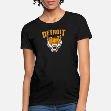 Detroit Tigers Funny Detroit loves - tiger mascot with distressed det - Women's T-Shirt