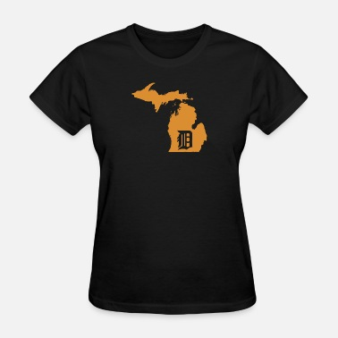 313 Detroit Love Funny detroit - orange d - michigan state map, d - Women's T-Shirt