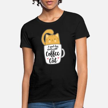 Cafe Orange Cat Coffee Mug Cat & Cafe Lovers Cute Gift - Women's T-Shirt