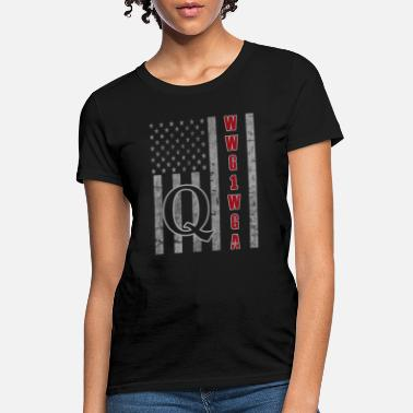 Qanon QAnon WWG1WGA Q Anon Great Awakening MAGA USA Flag - Women's T-Shirt