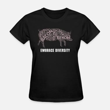 Hog Art Design Embrace Diversity with Bacon in 100 Languages - Women's T-Shirt