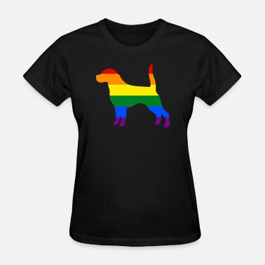 Gay Dog Gay Dog Beagle Rainbow Gay Pride Flag - Women's T-Shirt