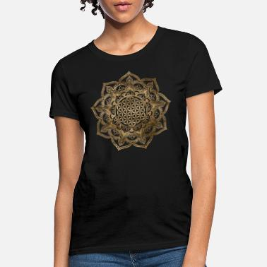 Geometry Golden Flower of Life in Lotus - Women's T-Shirt