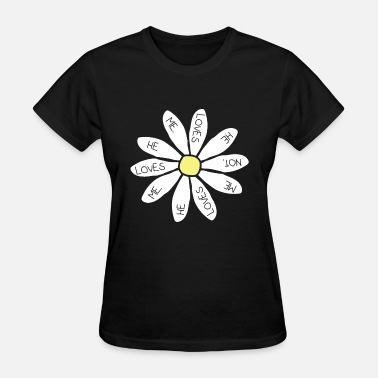 LOVES ME LOVES ME NOT TOP CROP WOMENS DAISY FLORAL - Women's T-Shirt