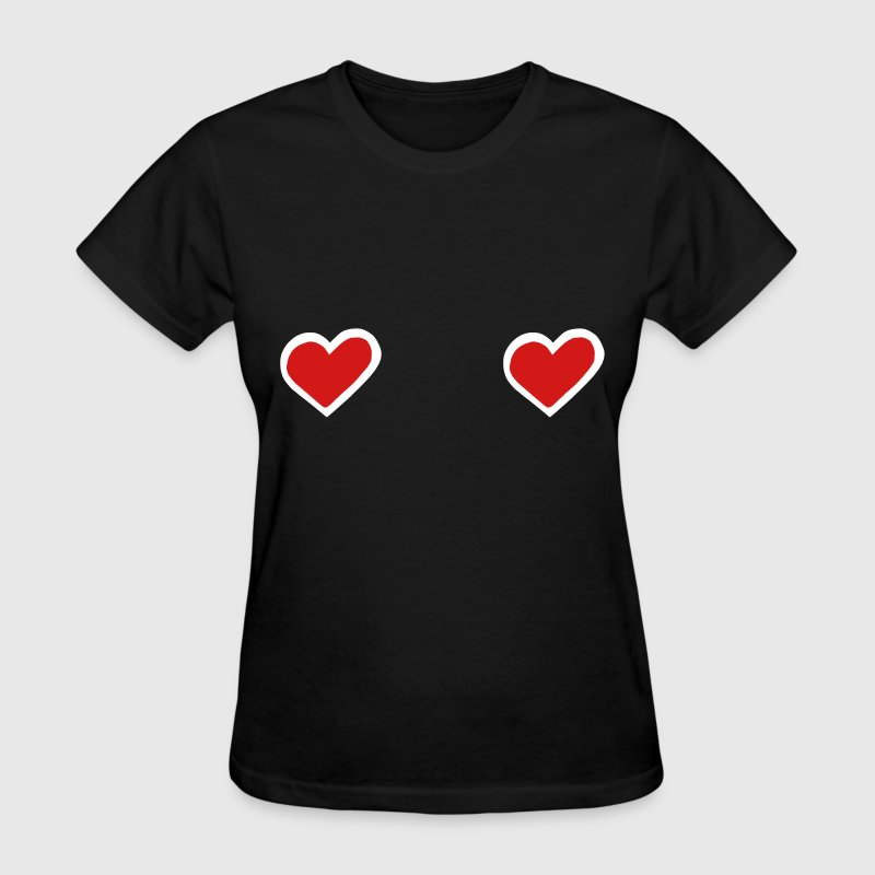 Hearts Boobs Love Sexy Breast Cancer - Women's T-Shirt