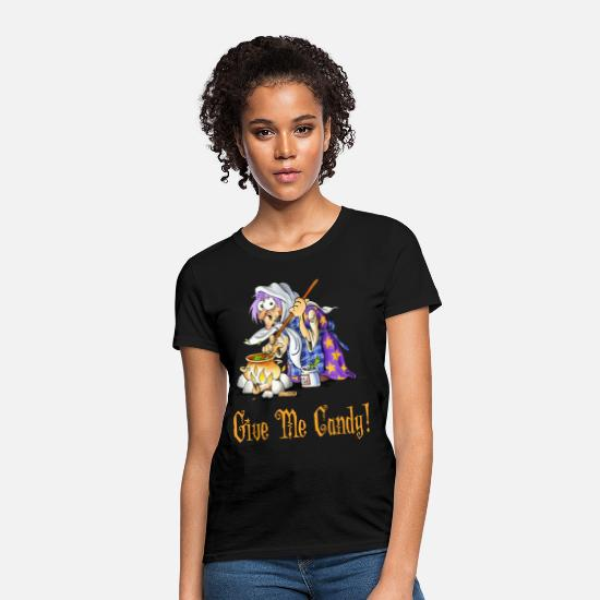 Candy T-Shirts - Give Me Candy! Hallowen Witch - Women's T-Shirt black