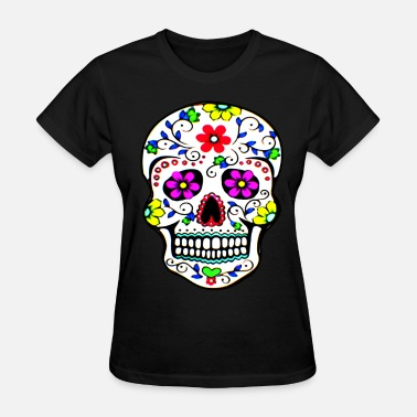Mexican Sugar Skull sugar_skull_flowers - Women's T-Shirt