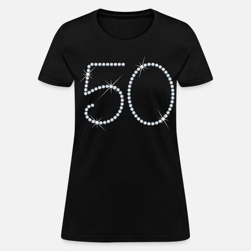 Faux Rhinestone 50th Birthday Womens T Shirt