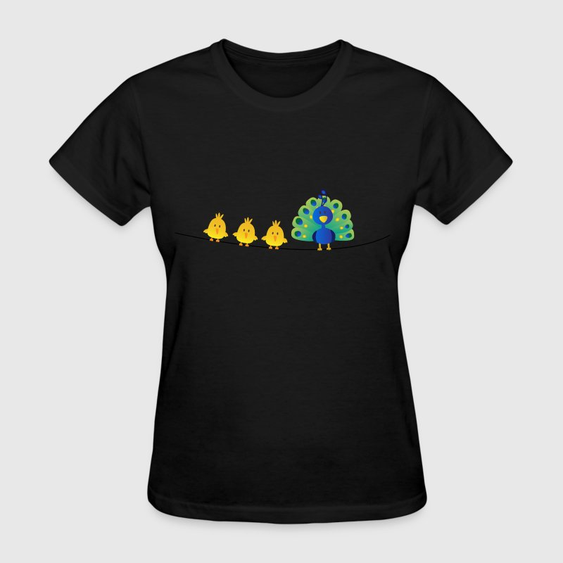 Peacock with Birds on telephone wire - Women's T-Shirt