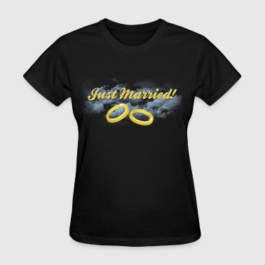 Just Married Gold Rings, Gold Lettering - Women's T-Shirt
