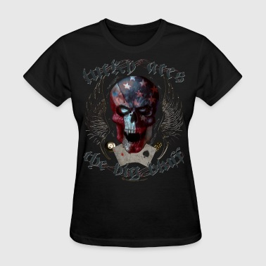 lucky aces gamble big bluff skull wings - Women's T-Shirt