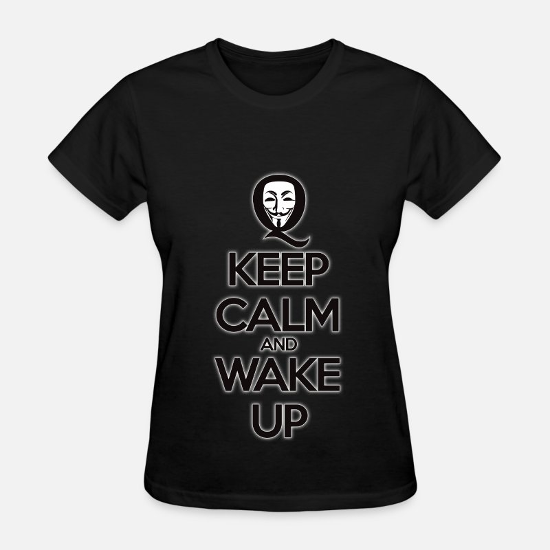 Qanon T-Shirts - #Qanon Keep Calm Wake Up - Women's T-Shirt black
