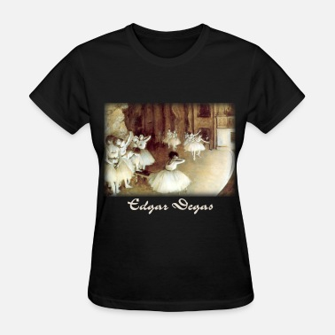 Nude Theater edgar_degas__rehearsal_on_stage_blk - Women's T-Shirt