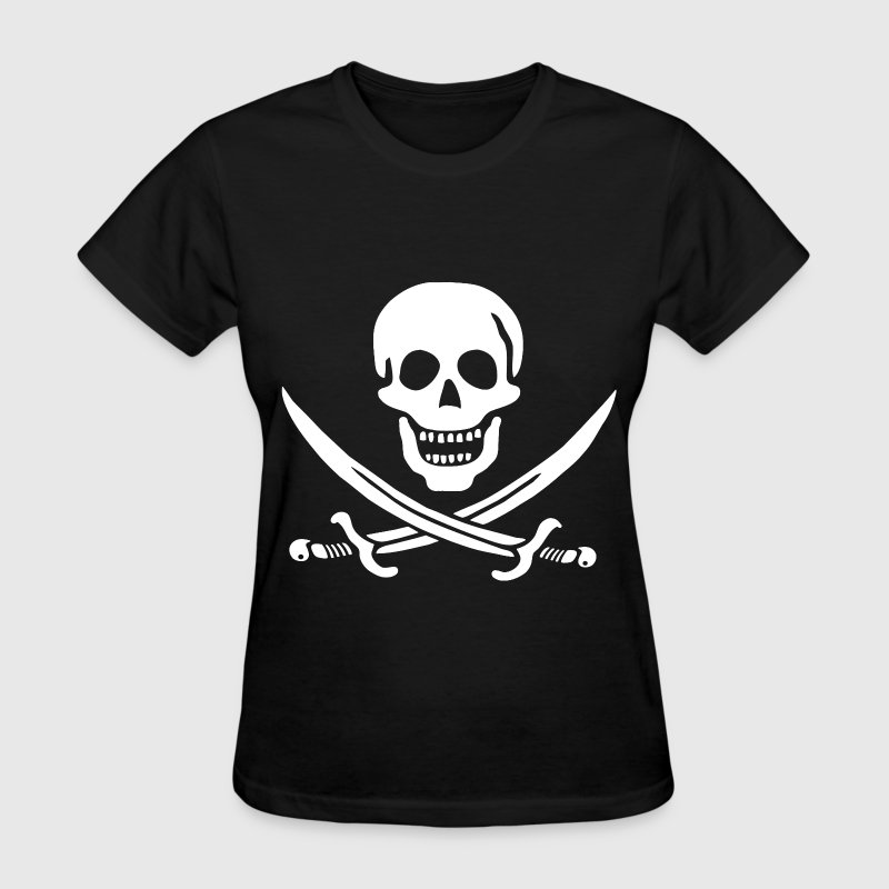 Pirate Skull and Crossbones (White on Transparent) - Women's T-Shirt