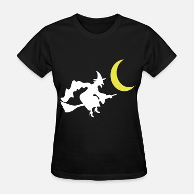 Flying Witch On Broom Witch Broom Fly Moon - Women's T-Shirt