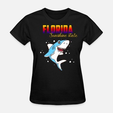 Florida-sunshine-state-states Sunshine State Florida Surfer Shark Beach Holiday - Women's T-Shirt
