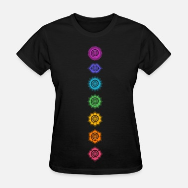 Psychedelic 7 Chakras, Kundalini, Cosmic Energy Centers - Women's T-Shirt