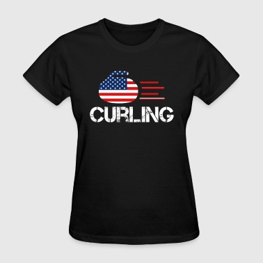 USA Curling Athlete American Cool Sports Vintage - Women's T-Shirt