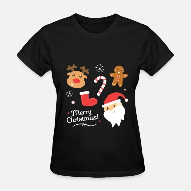 Christmas Womens Cute Christmas with Santa and Reindeer - Women's T-Shirt
