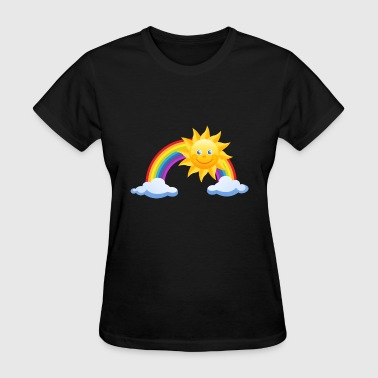 rainbow sun colorful clouds - Women's T-Shirt