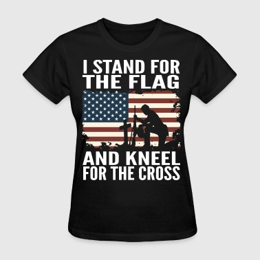 Flag Sportswear i stand for the flag and kneel for the cross veter - Women's T-Shirt