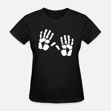 Black Handprints handprints left right black white motif shirt - Women's T-Shirt