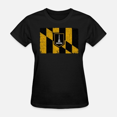 Maryland State Silhouette Baltimore Flag Distressed Clothing Apparel Shirts - Women's T-Shirt