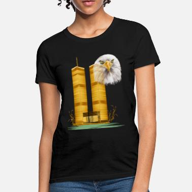 Twin Gold Twin Towers and Eagle - Women's T-Shirt