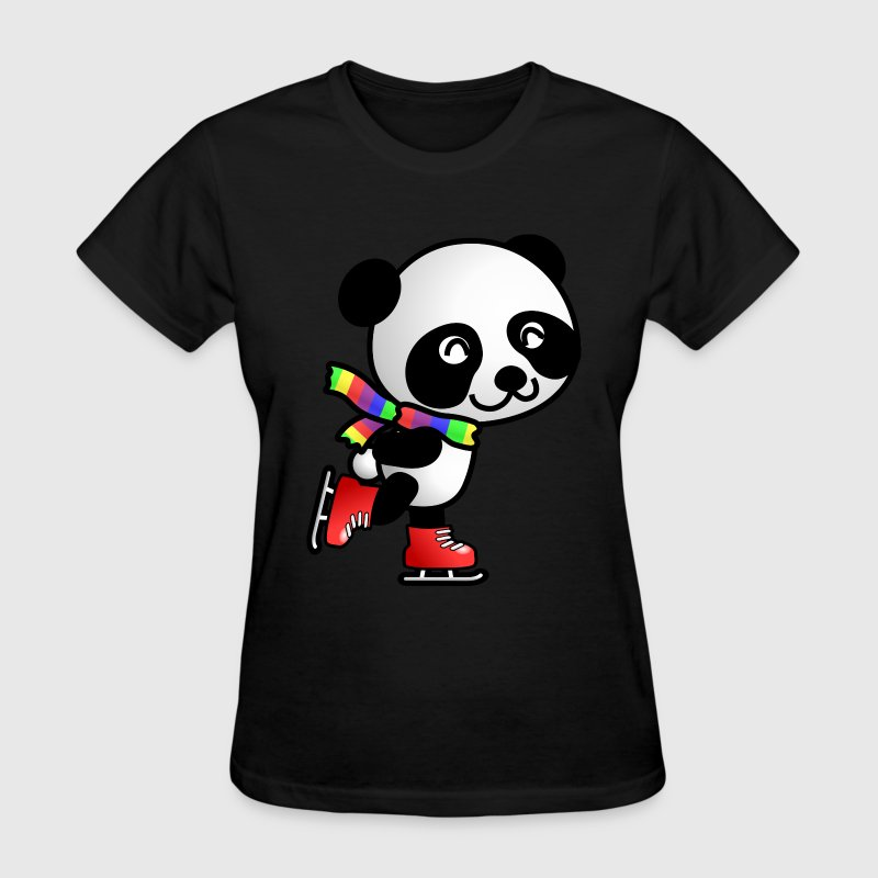 Cute Skating Kawaii Cartoon Panda Bear with Stripe - Women's T-Shirt