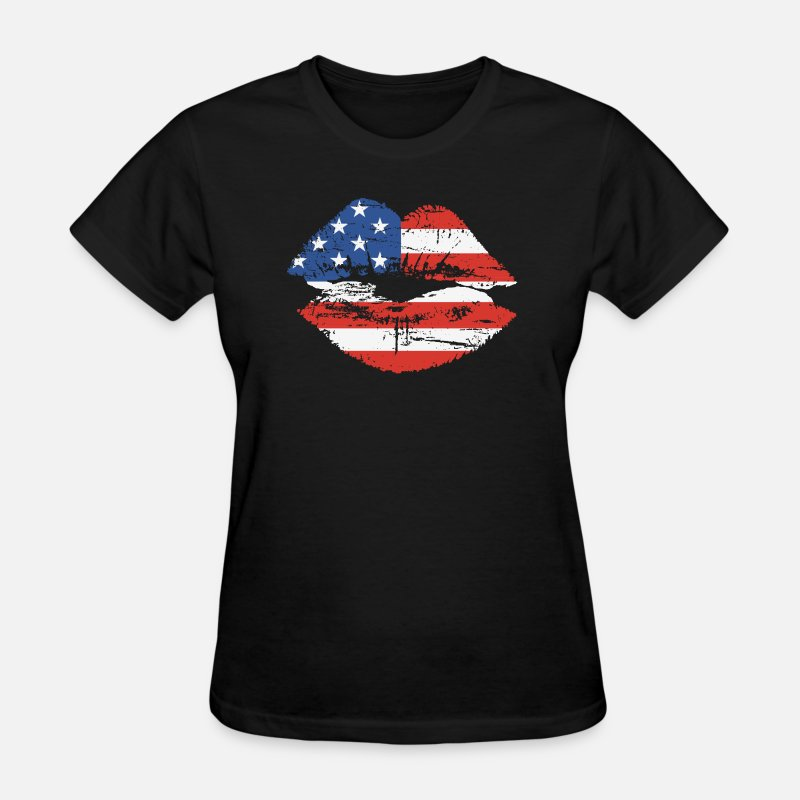 Flag T-Shirts - US Flag Lips - Women's T-Shirt black