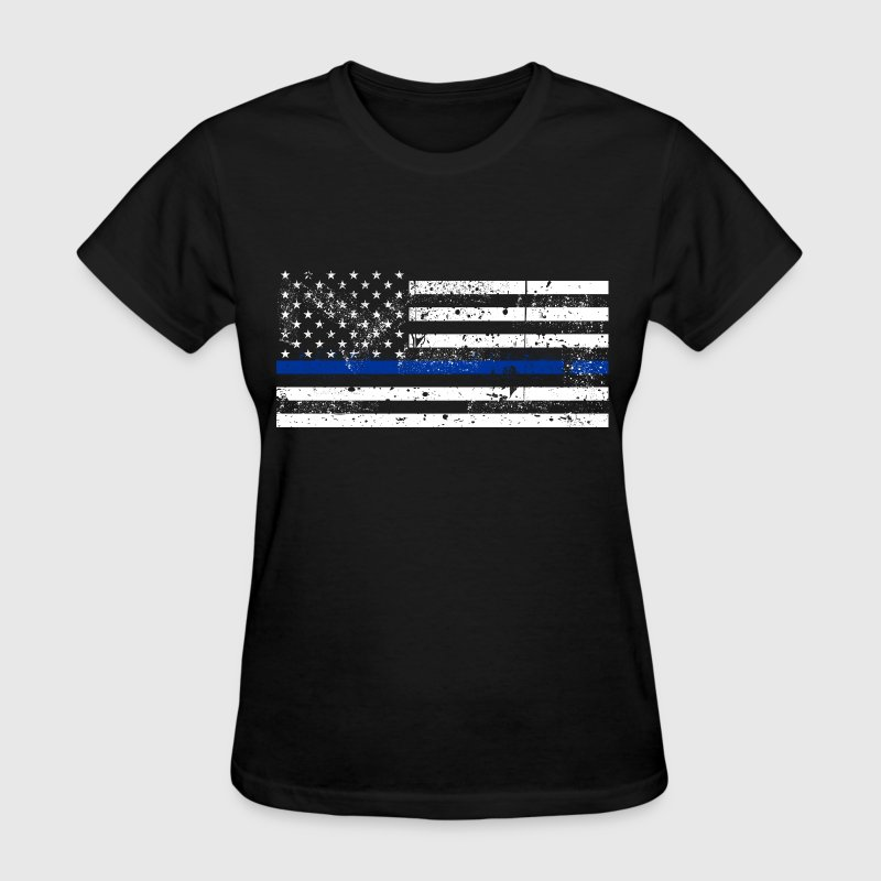 tattered distressed thin blue line flag vintage - Women's T-Shirt