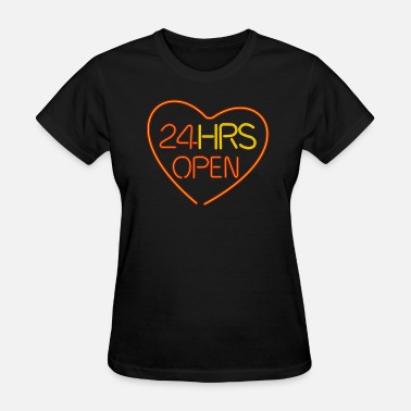 Welfare neon sign: 24 hrs open heart - Women's T-Shirt
