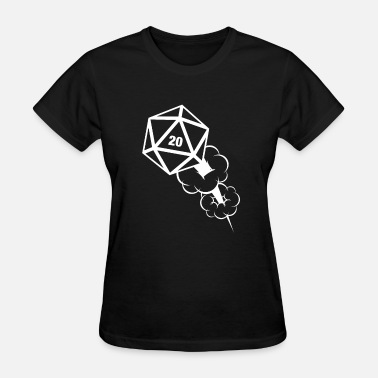 Critical Hit Polyhedral D20 Dice Cartoon Explosion Critical Hit - Women's T-Shirt