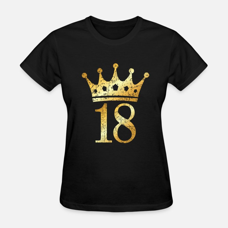 18th Birthday T-Shirts - 18th Birthday Crown Number 18 (Ancient Gold) - Women's T-Shirt black