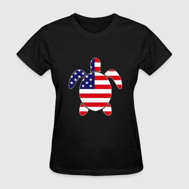 Sea Flags Patriotic SEA TURTLE American Flag Embroidery - Women's T-Shirt