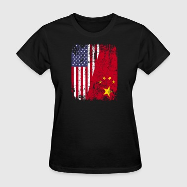 American With China Roots CHINESE ROOTS | American Flag | CHINA Gift - Women's T-Shirt