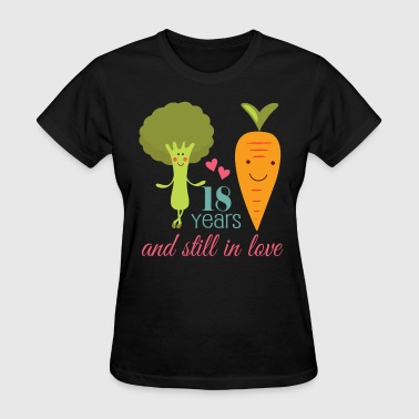 18th Wedding Anniversary 18 Years Love - Women's T-Shirt