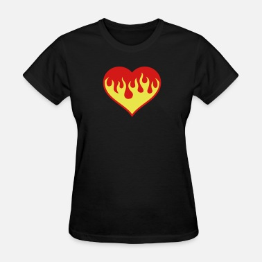 Flame Symbol Flaming Heart - Women's T-Shirt