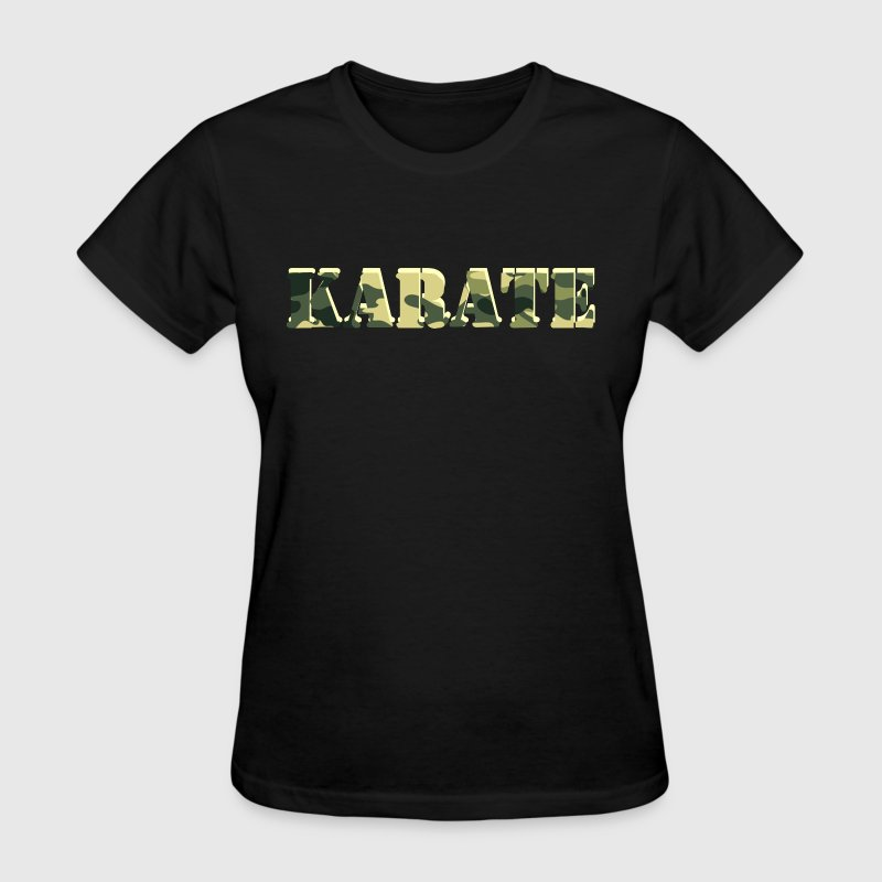 Karate word cut out of military camouflage camo design - Women's T-Shirt